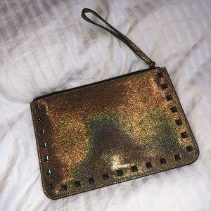 NWOT Rebecca minkoff gold sparkly clutch